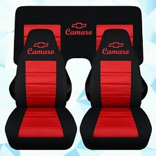 "Chevy Camaro car seat covers blk-red w/ ""CAMARO""front and a 3 piece rear benc"
