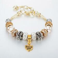 Gold Plated Rhinestone Crystal European Charm Doralen Beads Bracelet Lady Bangle