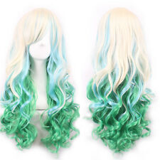 Blonde Green Ombre Cosplay Wig Hair Quality Women Resistant Long Wave Full Wigs