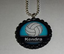 Volleyball Personalized BOTTLE Cap Necklace light blue/teal * ANY NAME * chain