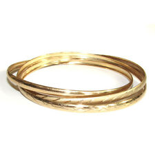 Solid Fine 10K Yellow Gold Interlocked Bangles Set of 3 Connected Bracelets 417