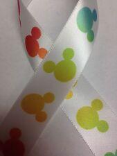 """7/8"""" Disney Mickey Mouse Ribbon - 3 yards - White Ribbon with Rainbow Mickeys"""