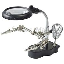 New 3X Helping Hand Soldering Stand With LED Light Magnifier Magnifying Glass
