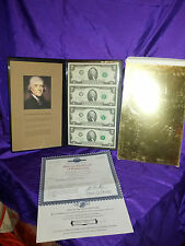 UNCUT SHEET OF ( 4 ) 2003 TWO DOLLAR W/CERT.& PICTURE IN A  GOLD COL COVERED BX