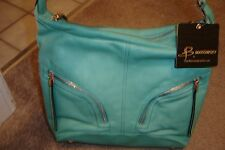 "NEW WITH TAGS, B. MAKOWSKY ""AQUA"" HANDBAG, STUNNING!!!"