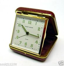 VINTAGE PHINNEY-WALKER FOLDING ALARM TRAVEL CLOCK BURGUNDY LEATHER CASE GERMANY