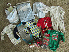 NEW LOT/17 BABY BOY CLOTHING NEWBORN BLANKET, BIBS CARTERS SLEEPERS FALL WINTER