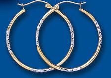 Oro Giallo E Bianco Taglio Diamante 30mm Orecchini Stile Creolo
