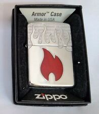 Zippo Lighter Armor Case Inferno Flames Polished Chrome 2009 New in box