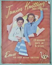 VINTAGE 40s JUNIOR KNITTING ORIGINAL PATTERN BOOK Girl Boy Children EMU cricket