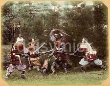 Samurai Warriors in Armour Fight Pose Swords 1880 Japan 5x4 Inch Reprint Photo