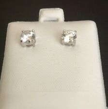 Earrings Stud Rhodium Plated Cubic Zirconia CZ Clear Post 5 mm E29C
