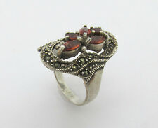 Vintage 925 Sterling Silver Brown smoky topaz marquise texture size 8 band ring