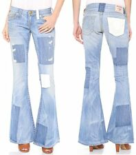 TRUE RELIGION $323 OLDBURY DISTRESS PATCHWORK FLARE CARRIE JEANS 25