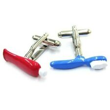 Toothbrush Toothpaste Cufflinks Dentist Gift + Box & Cleaner