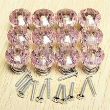 12pcs Pink Crystal Glass Door Knobs Drawer Cabinet Furniture Kitchen Handle 25mm