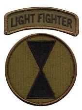 7th Infantry Division OD patch with Lightfighter Tab - Light Infantry - Ft Ord