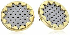 House of Harlow 1960 Nicole Richie gold pl sunburst earrings gray leather