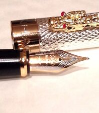 FOUNTAIN PEN JINHAO 1200 SILVER DRAGON 18K GP NIB RED CRYSTAL EYES INK CONVERTER