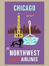 Chicago Illinois Northwest  United States America Travel Advertisement Poster
