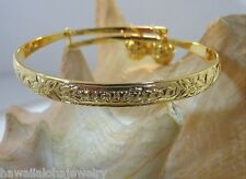 6mm Hawaiian Gold Plated Keiki Child Kuuipo Heritage Scrolls Baby Bracelet Adj