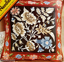 "16"" Needlepoint Pillow Kit MIDNIGHT FLOWER PILLOW Meredith Gladstone Floral"