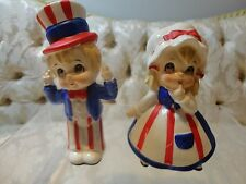 Lefton Fourth of July Patriotic Uncle Sam and Betsy Ross figurines