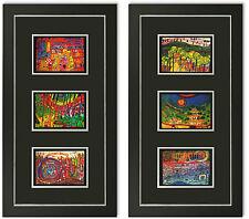2 Bilder Kunstdruck Friedensreich Hundertwasser Galeriebild mit Rahmen -40% SALE