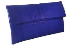 GENUINE PYTHON SNAKESKIN LEATHER WOMEN FOLDOVER ENVELOPE CLUTCH BAG BLUE