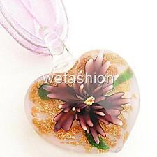 Purple Flower Gold Heart Lampwork Glass Murano Bead Pendant Ribbon Necklace Cord