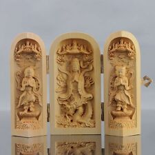 Chinese Hand-carved Wooden Buddha Three Qpen D259