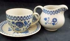Johnson Brothers JAMESTOWN BLUE (TAN) Cup & Saucer + Creamer GREAT CONDITION