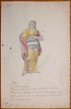 Projet de costume pour le théâtre Dessin signé J. BYENS mythologie Tirésias