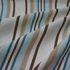 Pale Cream Canvas Fabric with Turquoise & Brown Stripes (Per Metre)