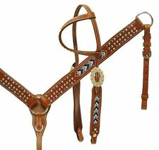 Showman Single Ear Headstall Breastcollar Set w Beaded Turquoise & Blue Inlay!