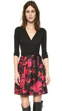 $548 NWT Diane Von Furstenberg Jewel Wrap Dress Black/Floral Daze Pink Size 2