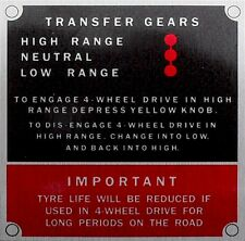 Land Rover Series 2 2a 3 Bulkhead Gearbox/Transfer Box Information Plate/Plaque