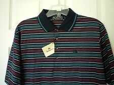 Burberry London Men's Size Large 100% Cotton Polo Shirt Multi Color Striped NEW
