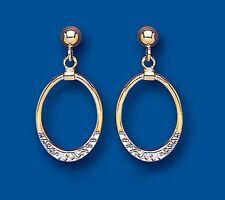 9k Oro Bianco e Giallo Taglio Diamante Orecchini A Goccia