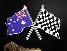 Incrociati Australiana & Bandiera a Scacchi Auto Moto Decalcomania ADESIVO