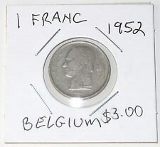 1952 BELGIAN 1 FRANC COIN ~ Nice Condition (Ungraded)