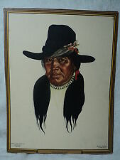 """vintage WINOLD REESE Great Northern Railway Indian Print """"JAMES WHITE CALF"""""""