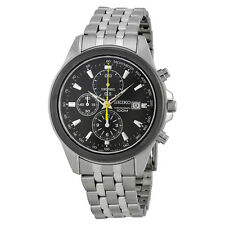 Seiko Chronograph Black Dial Stainless Steel Mens Watch SNDF09