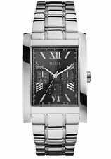 GUESS Men's W0484G1 Retro Silver-Tone Multi-Function Watch with Black Dial