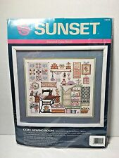 Sunset #13043 Cozy Sewing Room Stamped Cross Stitch Kit NEW by Barbara Waters