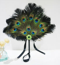Black Bridal Bouquet Peacock & Ostrich Feathers Bridesmaid Fan wedding favors