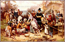 Painting: The First Thanksgiving 1621, J.L.G. Ferris, 1899