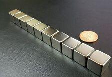 """10 Neodymium N52 Cube Magnets Super Strong Rare Earth Blocks 1/2"""" x 1/2"""" x 1/2"""""""