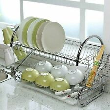 2 Tier Chrome Dish Plates Cup Cutlery Crockery Glass Drainer Rack Drip Tray UK