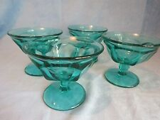 Vintage Depression Green Glass Pedestal Ice-cream Dessert Dishes Bowls, 4 pieces